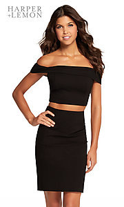 Image of two-piece short black off-shoulder homecoming dress. Style: AL-HL-107 Front Image