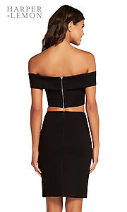 Image of two-piece short black off-shoulder homecoming dress. Style: AL-HL-107 Back Image