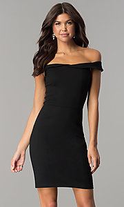 Image of short sheath off-the-shoulder homecoming party dress. Style: AL-HL-100 Front Image
