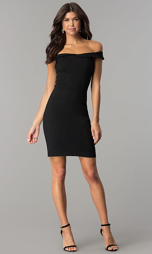 Image of short sheath off-the-shoulder homecoming party dress. Style: AL-HL-100 Detail Image 1