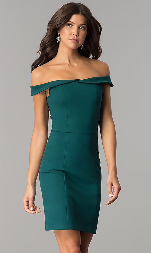 Image of short sheath off-the-shoulder homecoming party dress. Style: AL-HL-100 Detail Image 2