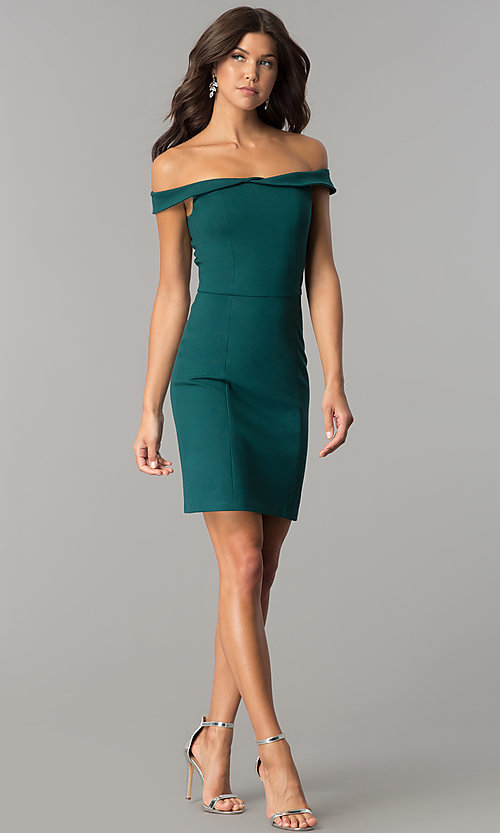 Image of short sheath off-the-shoulder homecoming party dress. Style: AL-HL-100 Detail Image 3