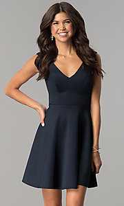 Image of open-back short navy blue homecoming party dress.  Style: AL-HL-103 Front Image