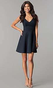 Image of open-back short navy blue homecoming party dress.  Style: AL-HL-103 Detail Image 3