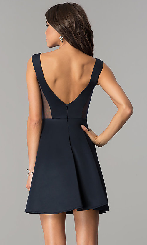 Image of open-back short navy blue homecoming party dress.  Style: AL-HL-103 Back Image
