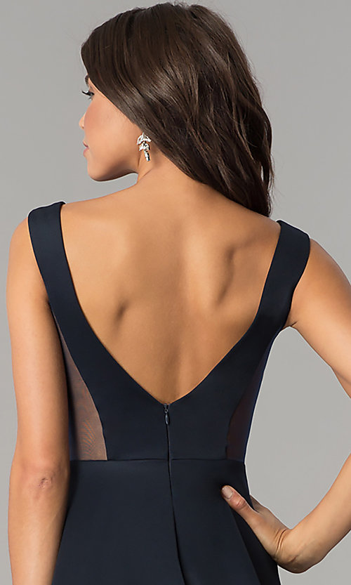 Image of open-back short navy blue homecoming party dress.  Style: AL-HL-103 Detail Image 1