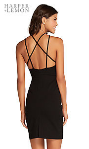 Image of open-back short homecoming party dress with slit. Style: AL-HL-106 Detail Image 2
