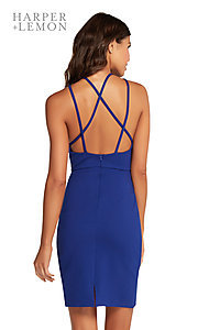 Image of open-back short homecoming party dress with slit. Style: AL-HL-106 Back Image