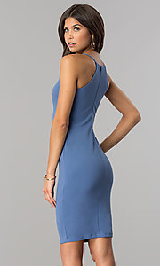 Image of denim blue short bodycon party dress with high neck.  Style: JTM-JD7900 Back Image