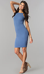 Image of denim blue short bodycon party dress with high neck.  Style: JTM-JD7900 Detail Image 1