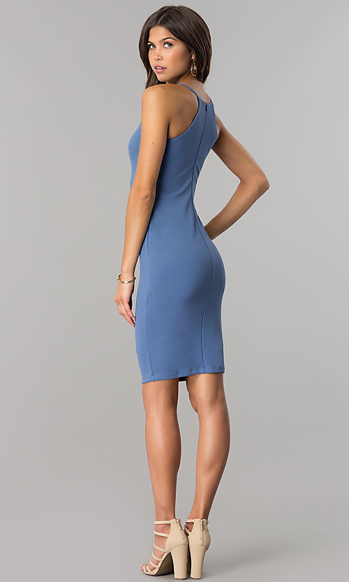 Image of denim blue short bodycon party dress with high neck.  Style: JTM-JD7900 Detail Image 2