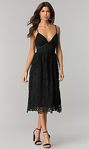 Image of black v-neck lace short midi party dress. Style: JTM-JMD7748 Front Image