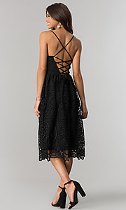 Image of black v-neck lace short midi party dress. Style: JTM-JMD7748 Back Image
