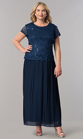 Plus Mother-of-the-Bride Short-Sleeve Long Dress