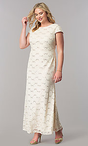 Image of plus-size long sequin-lace wedding-guest dress. Style: SF-8841P Front Image