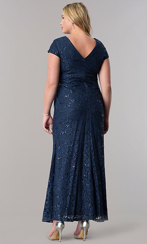 Image of plus-size long sequin-lace wedding-guest dress. Style: SF-8841P Back Image