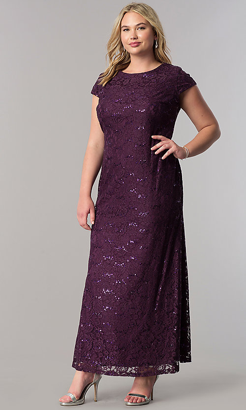 Plus-Size Long Wedding-Guest Dress in Sequined Lace