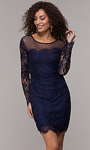 Image of long-sleeve short illusion-lace cocktail party dress. Style: JU-10410 Detail Image 4