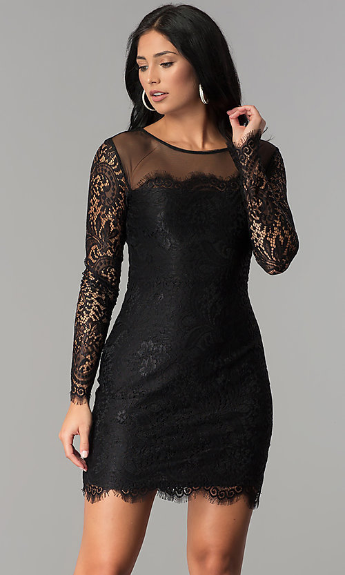 Image of long-sleeve short illusion-lace cocktail party dress. Style: JU-10410 Front Image