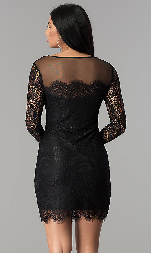 Image of long-sleeve short illusion-lace cocktail party dress. Style: JU-10410 Back Image