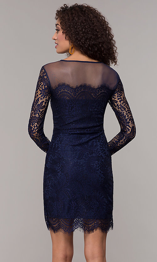 Image of long-sleeve short illusion-lace cocktail party dress. Style: JU-10410 Detail Image 5