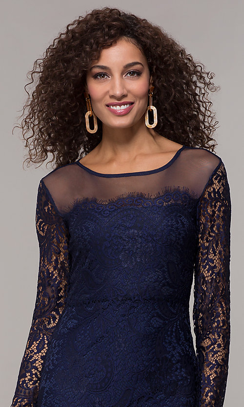 Image of long-sleeve short illusion-lace cocktail party dress. Style: JU-10410 Detail Image 1
