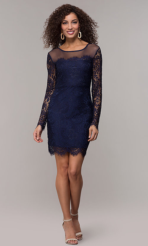 Image of long-sleeve short illusion-lace cocktail party dress. Style: JU-10410 Detail Image 2