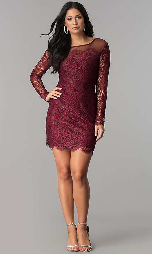 Image of long-sleeve short illusion-lace cocktail party dress. Style: JU-10410 Detail Image 3