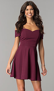 Image of cold-shoulder short burgundy a-line party dress. Style: EM-FEE-2109-610 Front Image