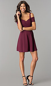 Image of cold-shoulder short burgundy a-line party dress. Style: EM-FEE-2109-610 Detail Image 2
