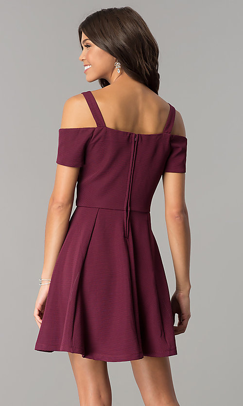 Image of cold-shoulder short burgundy a-line party dress. Style: EM-FEE-2109-610 Back Image