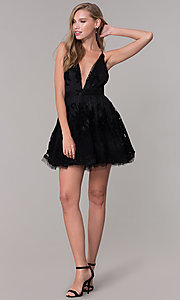 Image of short tulle a-line party dress with deep v-neckline. Style: LUX-LD4075 Detail Image 3