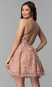 Image of short tulle a-line party dress with deep v-neckline. Style: LUX-LD4075 Back Image