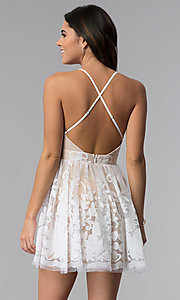 Image of short tulle a-line party dress with deep v-neckline. Style: LUX-LD4075 Detail Image 5