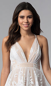 Image of short white a-line party dress with deep v-neckline. Style: LUX-LD4075 Detail Image 1