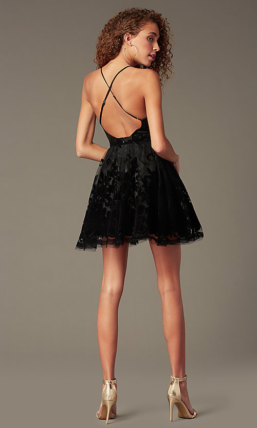 Image of short tulle a-line party dress with deep v-neckline. Style: LUX-LD4075 Detail Image 2