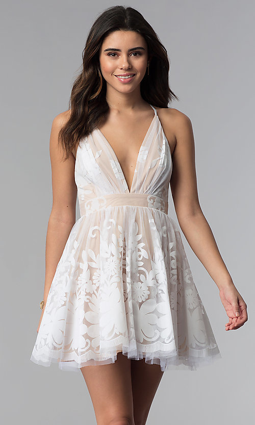 Image of short white a-line party dress with deep v-neckline. Style: LUX-LD4075 Front Image