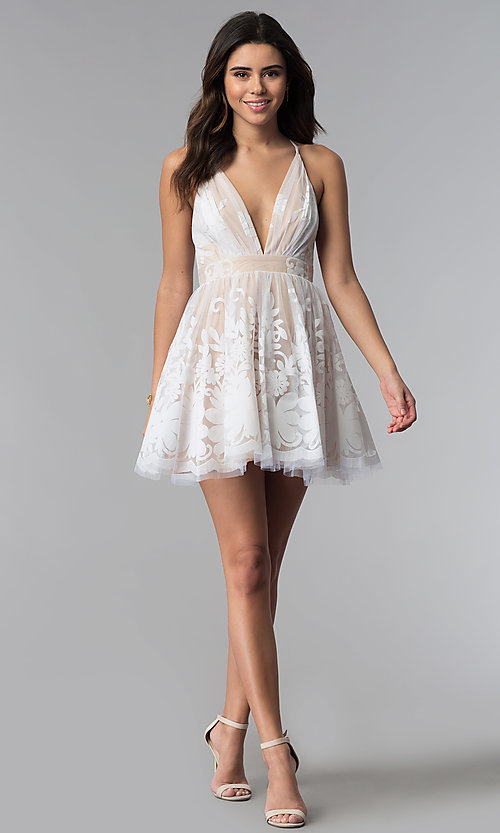 Image of short white a-line party dress with deep v-neckline. Style: LUX-LD4075 Detail Image 2