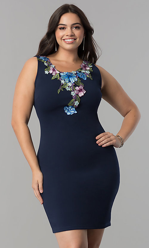 Plus Size Navy Blue Embroidered Wedding Guest Dress