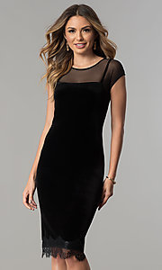 Image of black velvet short cocktail party dress with lace hem. Style: IT-111257 Front Image
