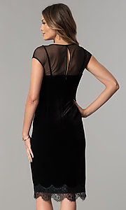 Image of black velvet short cocktail party dress with lace hem. Style: IT-111257 Back Image