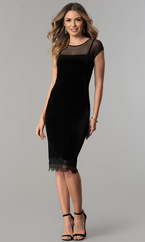 Image of black velvet short cocktail party dress with lace hem. Style: IT-111257 Detail Image 2