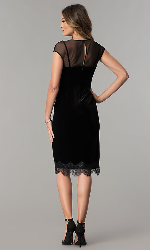 Image of black velvet short cocktail party dress with lace hem. Style: IT-111257 Detail Image 3