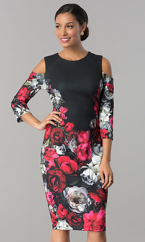 Image of cold-shoulder knee-length print wedding-guest dress. Style: JX-1XAL149H Front Image