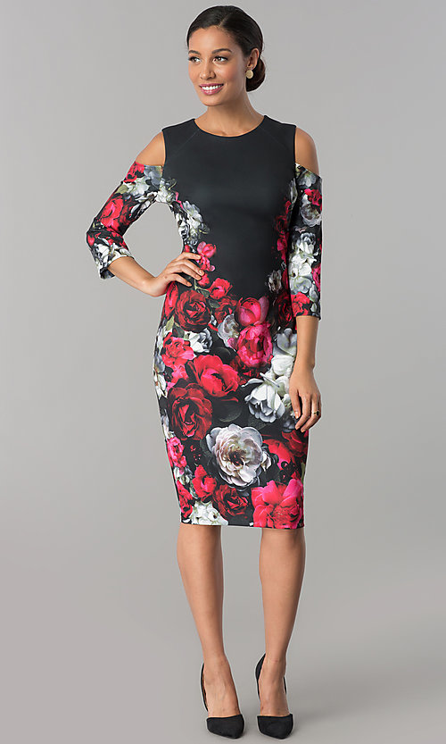 Image of cold-shoulder knee-length print wedding-guest dress. Style: JX-1XAL149H Detail Image 1