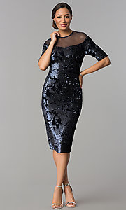 Image of short navy wedding-guest dress in sequin velvet. Style: JX-1ZXC134M Detail Image 2