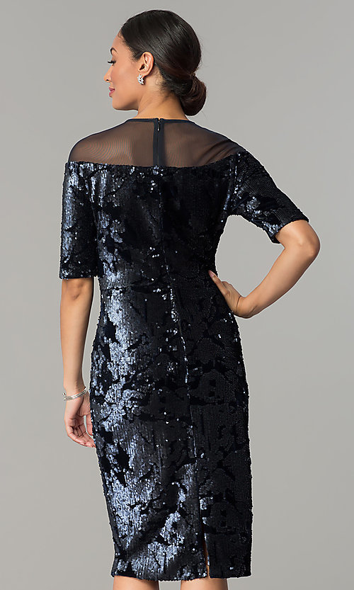Image of short navy wedding-guest dress in sequin velvet. Style: JX-1ZXC134M Back Image