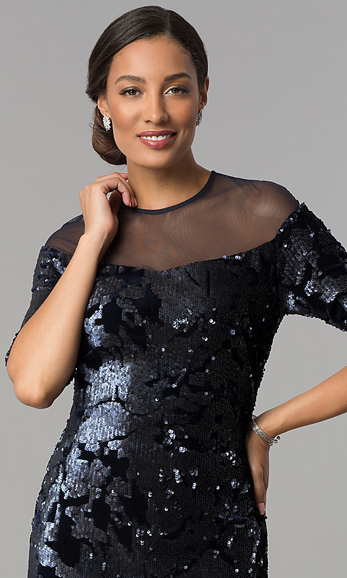 Image of short navy wedding-guest dress in sequin velvet. Style: JX-1ZXC134M Detail Image 1