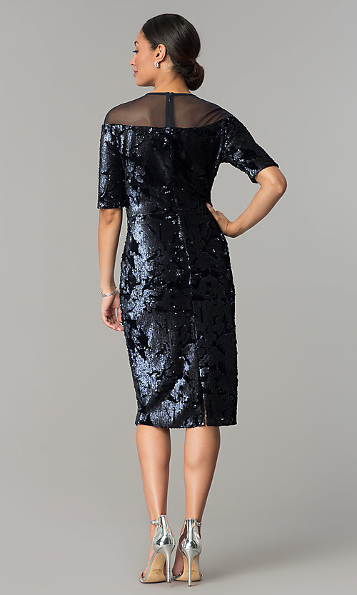 Image of short navy wedding-guest dress in sequin velvet. Style: JX-1ZXC134M Detail Image 3