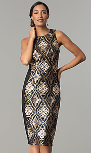 Image of sequin-print short black holiday party dress. Style: JX-1XAJ281Q Front Image